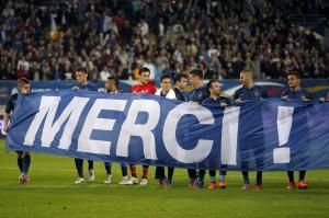 Equipe de France Euro 2012 bannière de remercement stade Le Mans