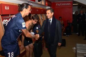 Sarkozy au Parc des princes avec Ibra et le prince du Qatar